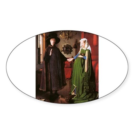 Portrait of Giovanni Arnolfin Sticker (Oval 50 pk)