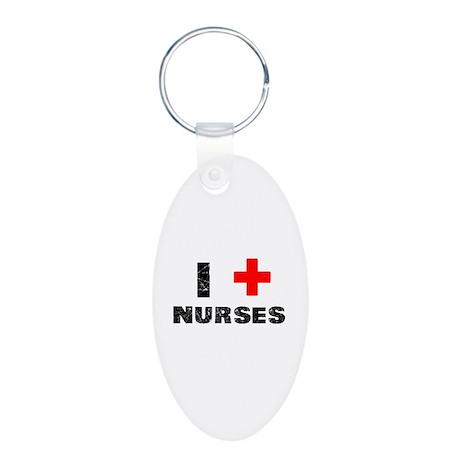 I Heart Nurses Aluminum Oval Keychain