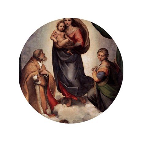 """The Sistine Madonna 3.5"""" Button"""