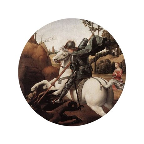 """St George and the Dragon 3.5"""" Button (100 pack)"""