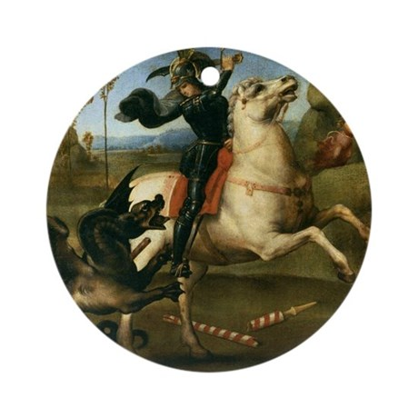 St George Fighting the Dragon Ornament (Round)