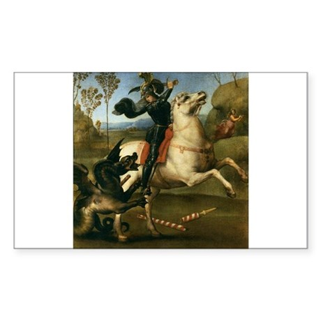St George Fighting the Dragon Sticker (Rectangle)