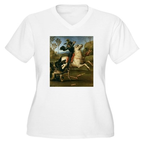 St George Fighting the Dragon Women's Plus Size V-