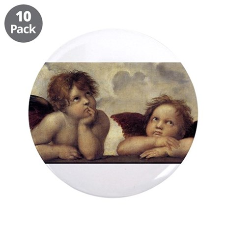 """The Sistine Madonna (detail) 3.5"""" Button (10 pack)"""
