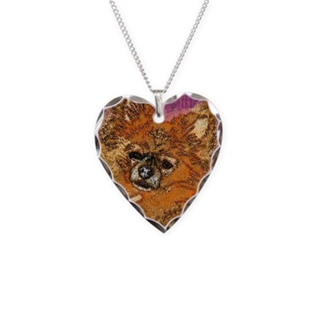 Long Haired Chihuahua Necklace Heart Charm