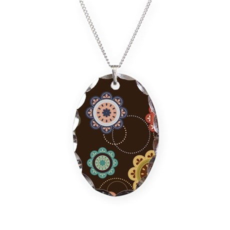 Urban Chic Floral Necklace Oval Charm