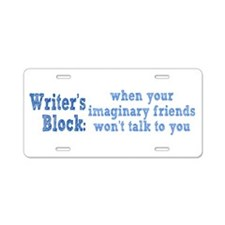 Writer's Block Aluminum License Plate