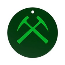Crossed Rock Hammers (green) Ornament (Round)