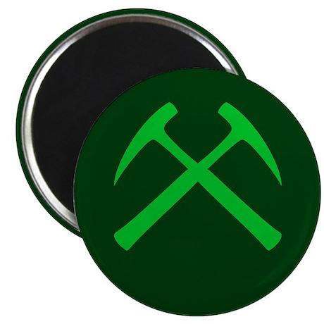Crossed Rock Hammers (green) Magnet