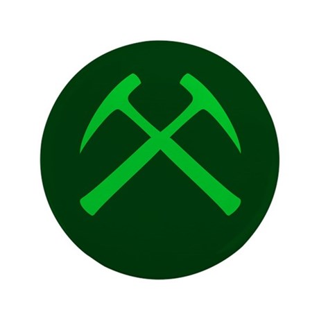 """Crossed Rock Hammers (green) 3.5"""" Button (100 pack"""