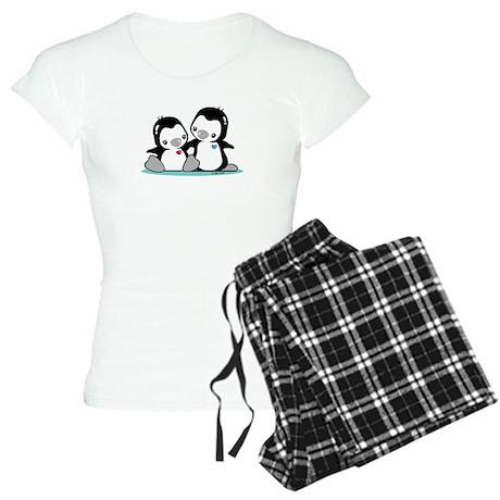 Penguins (b & w) Women's Light Pajamas