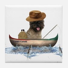 Cairn Terrier Fishing Tile Coaster