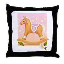 Palomino in Pink Rocking Horse Throw Pillow