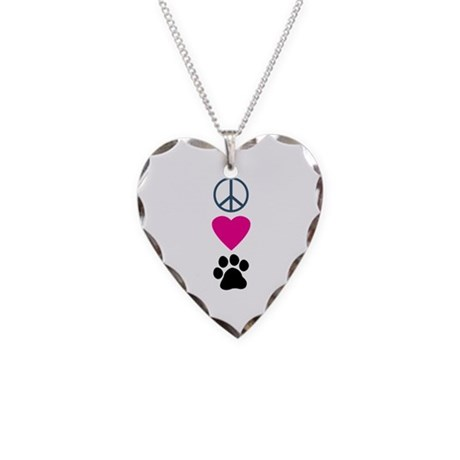 Peace Love Paws Necklace Heart Charm