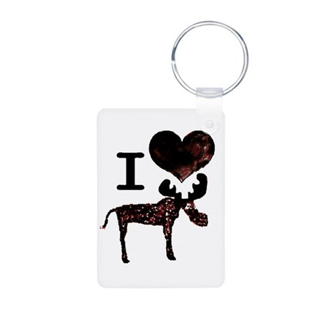 I heart Moose Aluminum Photo Keychain