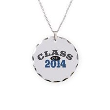 Class of 2014 Blue Necklace Circle Charm