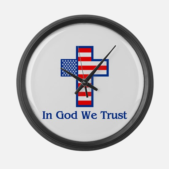 Cute In god we trust Large Wall Clock