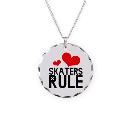 Skaters Rule Necklace Circle Charm
