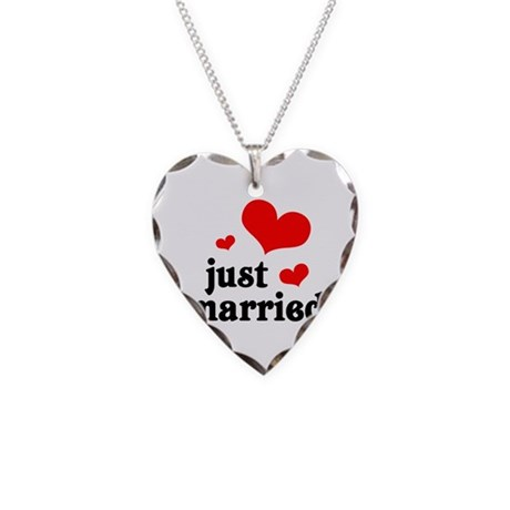 Just Married Necklace Heart Charm