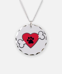 Heart Paw Print Bone Necklace