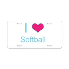 I Love Softball Aluminum License Plate
