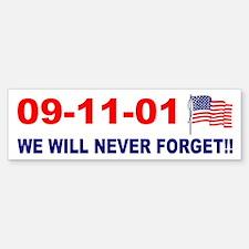 911 We will never forget Bumper Car Car Sticker
