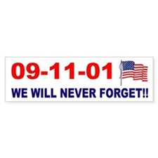 911 We will never forget Bumper Car Sticker
