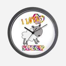 I Love Sheep Wall Clock