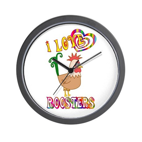 I Love Roosters Wall Clock