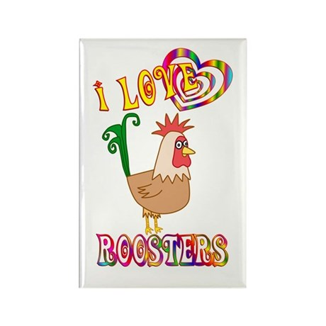 I Love Roosters Rectangle Magnet (100 pack)