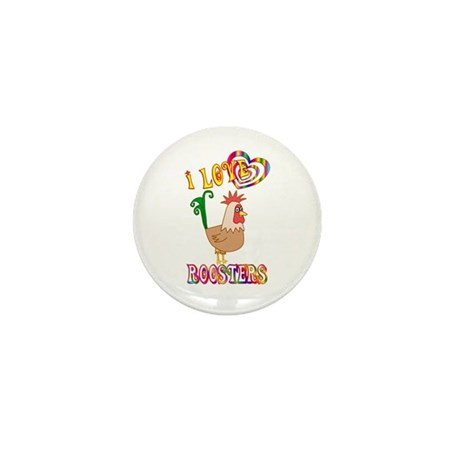I Love Roosters Mini Button (100 pack)