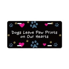 Dogs Leave Paw Prints Aluminum License Plate