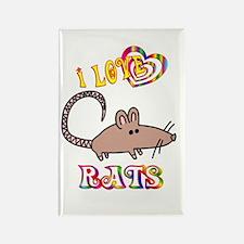I Love Rats Rectangle Magnet