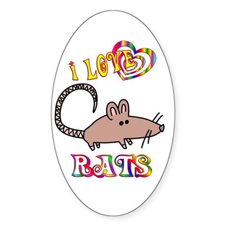 I Love Rats Sticker (Oval 10 pk)