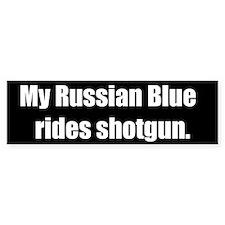 My Russian Blue rides shotgun (Bumper Sticker)