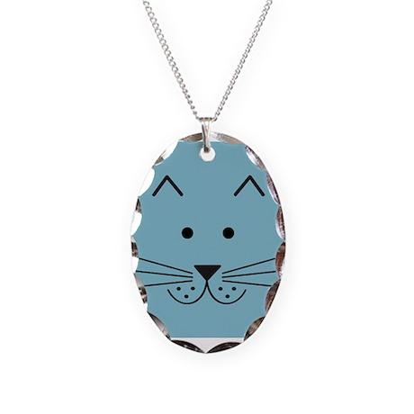 Cartoon Cat Face Necklace Oval Charm