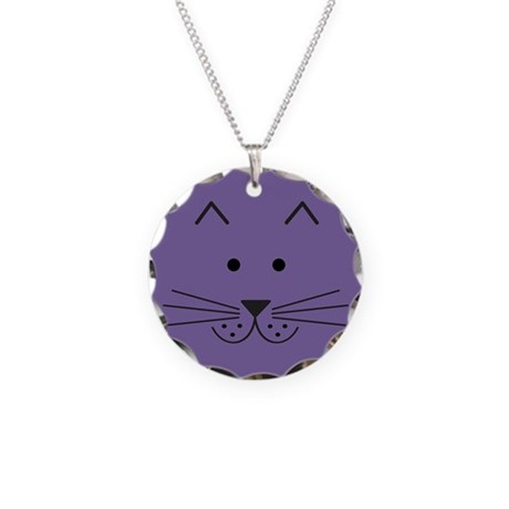 Cartoon Cat Face Necklace Circle Charm