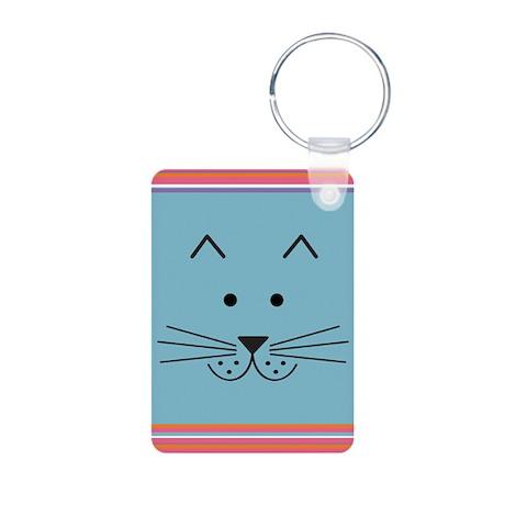 Cartoon Cat Face Keychain (Aluminum)