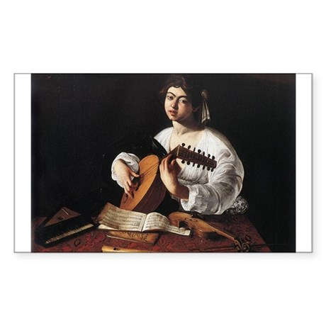 Lute Player Sticker (Rectangle)