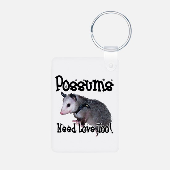 Possums Need Love Aluminum Photo Keychain