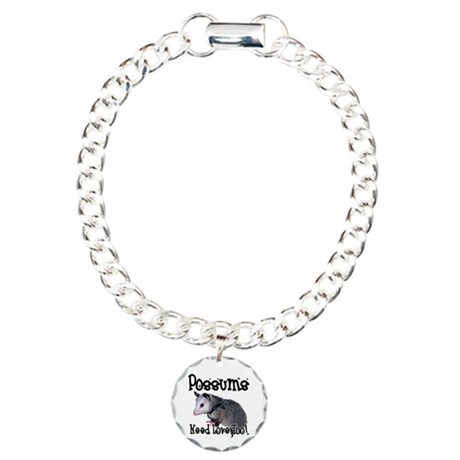 Possums Need Love Charm Bracelet, One Charm