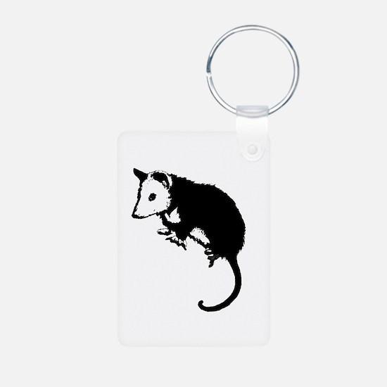 Possum Silhouette Aluminum Photo Keychain