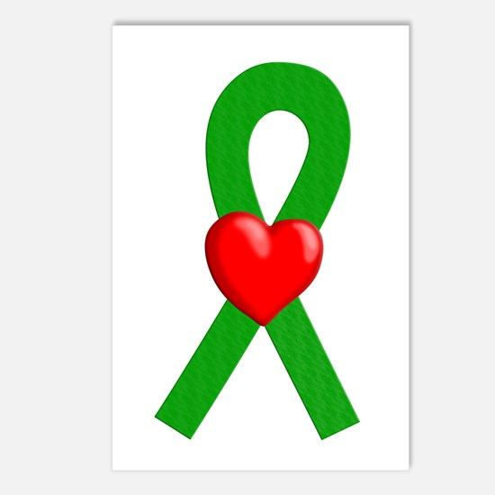 Green Ribbon Heart Postcards (Package of 8)