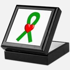 Green Ribbon Heart Keepsake Box