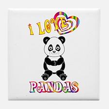 I Love Pandas Tile Coaster