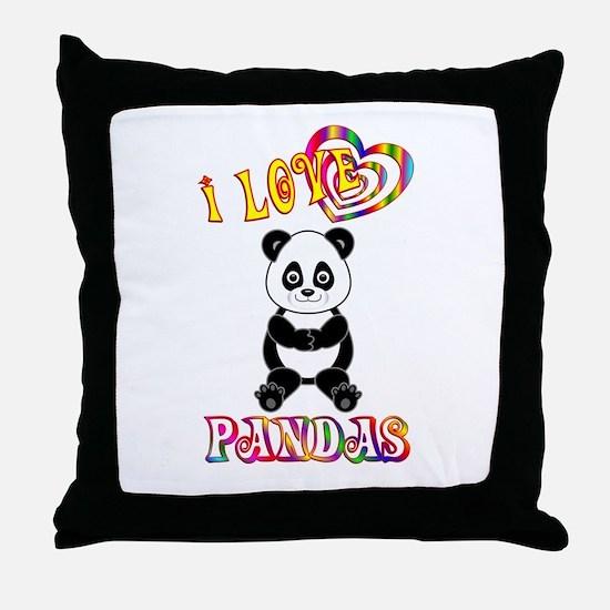 I Love Pandas Throw Pillow