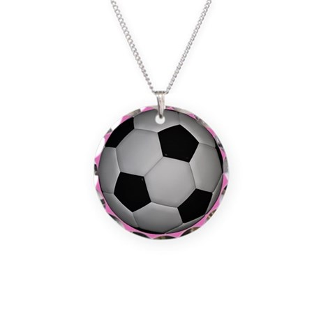 Soccer Girl Necklace Circle Charm