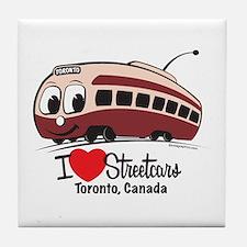 I Love Streetcars Toronto Tile Coaster