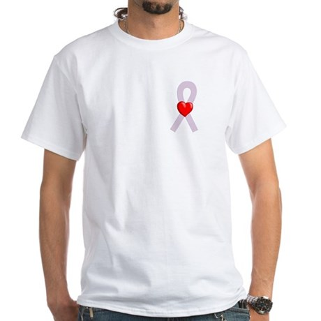 Orchid Ribbon Heart White T-Shirt