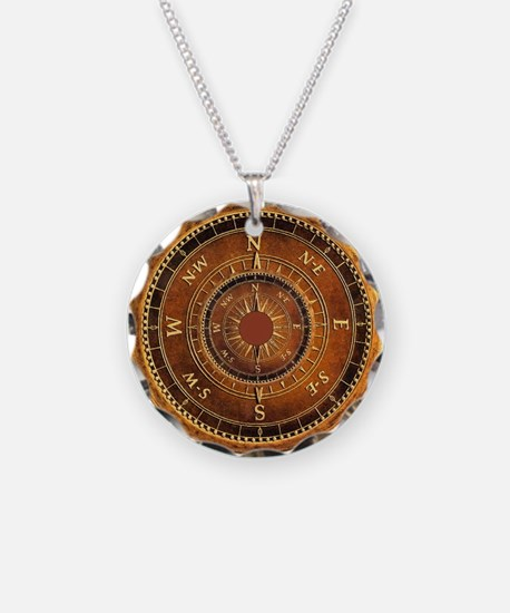 Compass Rose in Brown Necklace